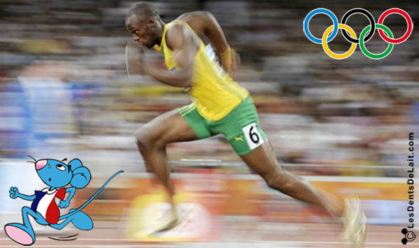 Usain Bolt en finale du 100 mètres aux JO