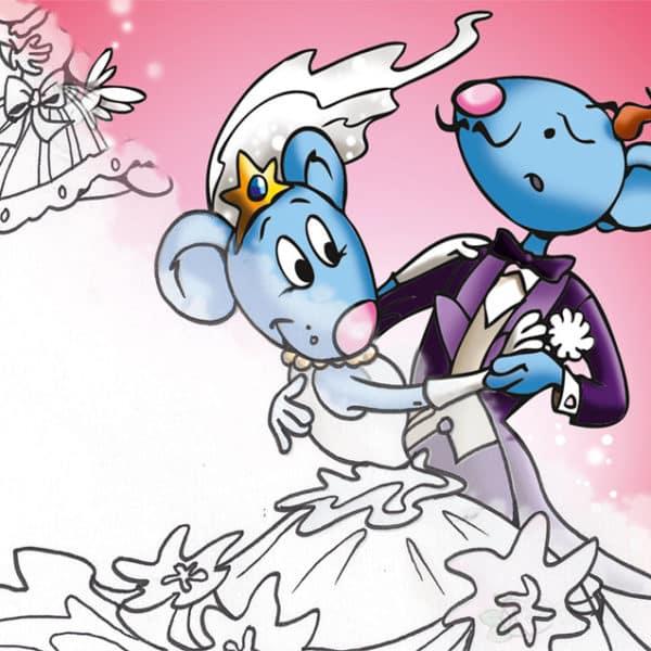 Coloriage mariage de la Petite Souris