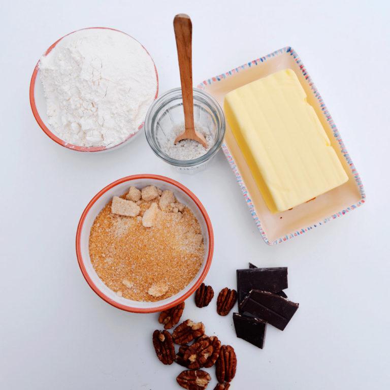 Ingrédients pour cookies aux noix de pécan