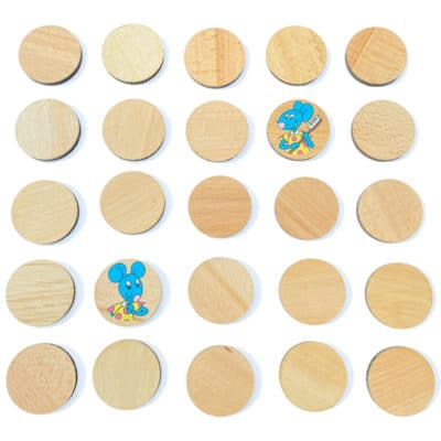 Pions en bois pour jeu de memory